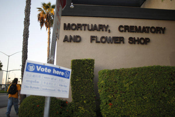 A mortuary in Long Beach seemed an appropriate place for voters to weigh in on the death penalty, which will continue in California indefinitely thanks to the failure of Proposition 34.