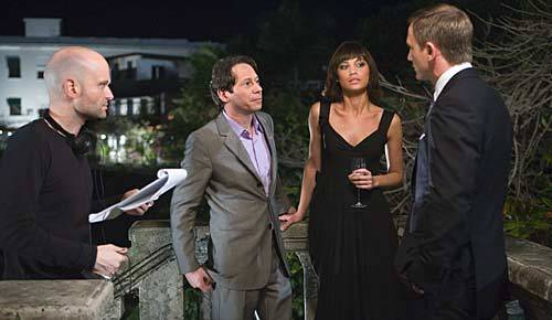 Director Marc Forster on set with cast members Mathieu Amalric (Dominic Greene), Olga Kurylenko (Camille) and Daniel Craig (James Bond).<br> <br> <b>Location:</b> Casco Viejo, Panama City, Panama