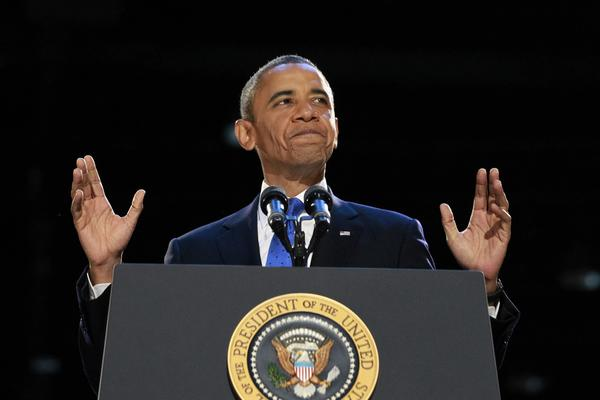 President Barack Obama speaks during his Tuesday night election victory rally in Chicago.