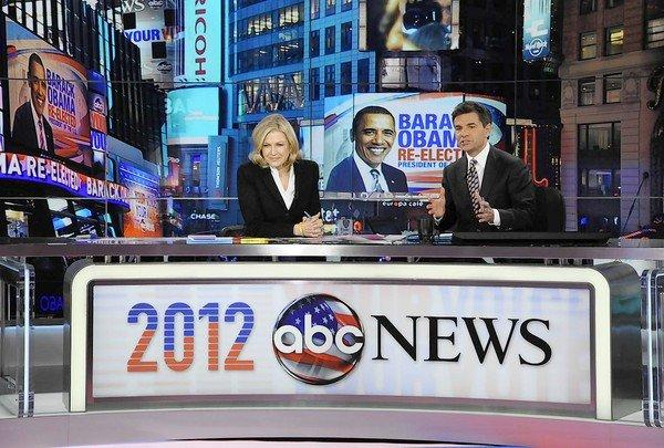 Diane Sawyer, left, and George Stephanopoulos during election night coverage from ABC News' Times Square Studios in New York.