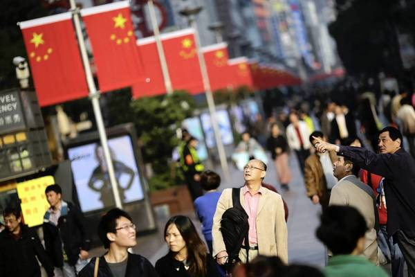 Chinese flags line a pedestrian street in Beijing to mark the Communist Party's 18th National Congress, during which new leaders will be named. They will take the reins of the world's second-largest economy.