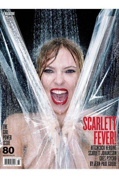"""Scarlett Johansson channels Janet Leigh's """"Psycho"""" shower scene on V's November cover."""