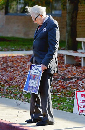 U.S. Congressman Roscoe Bartlett pauses for a moment Tuesday while campaigning at Northern Middle School.