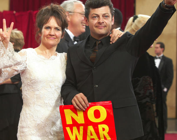 "It was a tough time for Hollywood to come together in a congratulatory tone four days after the invasion of Iraq had begun. Many voiced their support or disdain for what was going on -- like ""Lord of the Rings"" actor Andy Serkis and his wife."