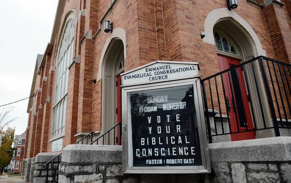 "A voter took issue with this sign at a Bethlehem polling place, reading: ""Vote your Biblical Conscience."""