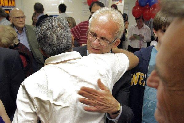 Democratic Rep. Howard Berman greets supporters on election night in Encino.