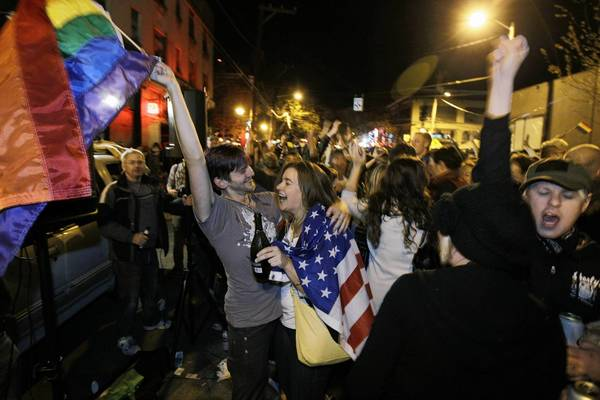 Seattle residents celebrate election returns favoring Washington state Referendum 74, which legalizes gay marriage.