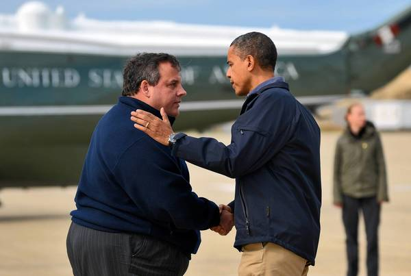 New Jersey Gov. Chris Christie greets President Barack Obama upon the president's arrival in Atlantic City last week to visit areas hard-hit by superstorm Sandy.