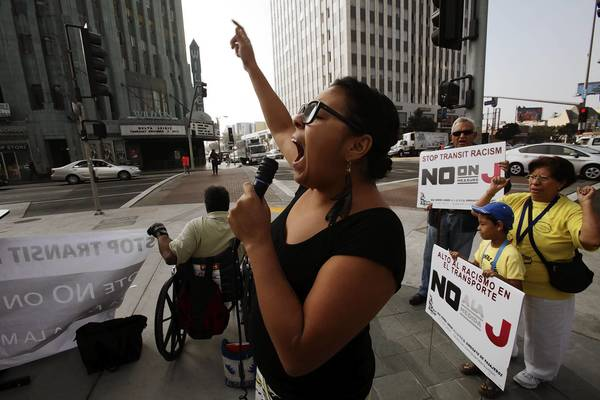 Carla Gonzalez chants during a demonstration against Measure J in Los Angeles.
