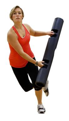 While standing, hold the ViPR with both hands in front of you.<br /><br />Step to the right, putting all your weight onto your right foot while trailing your left foot behind the right. Bring the left end of the ViPR toward your right foot so the device looks. Without pausing, press of your standing foot onto the opposite foot, also moving the opposite side of the ViPR to that standing foot. Repeat the movement, with an emphasis on making your motions very wide while keeping your chest lifted and your core tight.