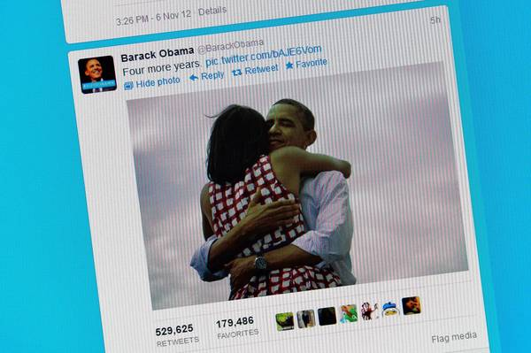 President Obama's campaign tweeted a photograph of him embracing First Lady Michelle Obama, which became social media's most shared image ever.