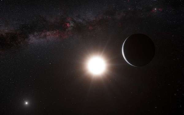 "This artist's representation shows a planet, right, orbiting the star Alpha Centauri B, center, a member of the triple star system that is closest to Earth. This exoplanet sat too close to its star for liquid water to exist. Now, another team of scientists says it has discovered a super-Earth planet some 44 million light-years away in its system's ""habitable zone."""