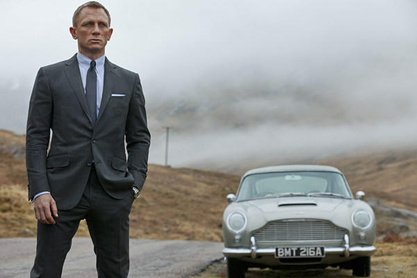 """Skyfall"" star Daniel Craig stands in front of the famed Aston Martin DB5. ""With the DB5, you're stepping into hallowed ground,"" stunt driver Ben Collins said."