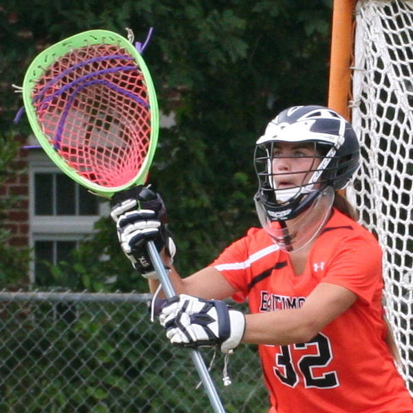 Haley Hicklen guards the net during an Under Armour All-America game at Towson University.
