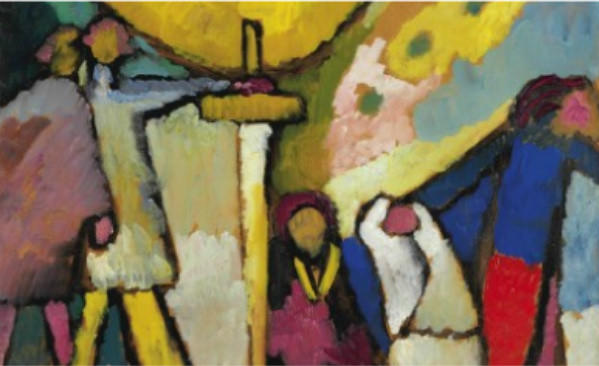 "A detail of Wassily Kandinsky's ""Studie fur Improvisation 8."" The painting, created in 1909, sold this week at a Christie's auction for $23 million."