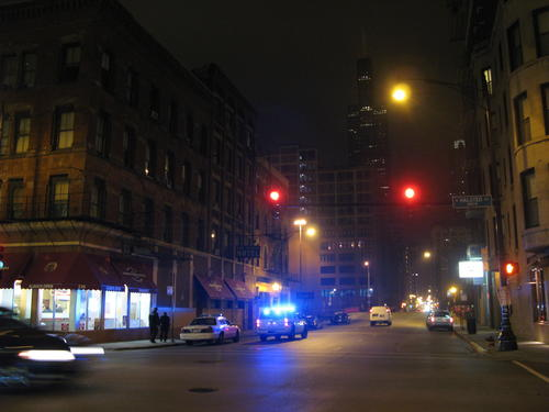 Police at the scene of a Greektown shooting that sent a man to the hospital on Nov. 8.