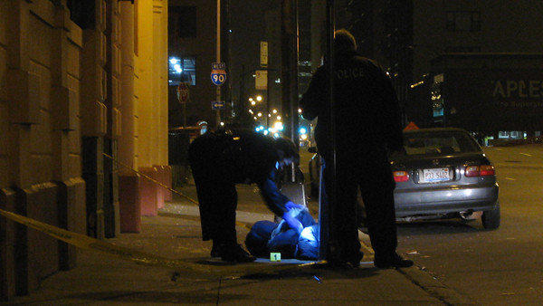 Police at the scene of a shooting in Greektown that sent a man to the hospital on Nov. 8.