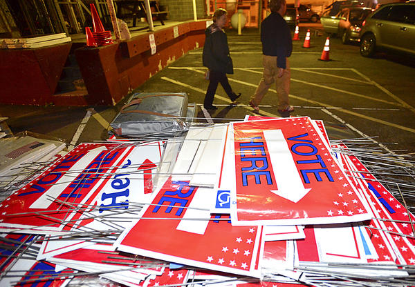 Signs that directed voters to polling places in Washington County are piled Wednesday behind the Washington County Board of Elections office in Hagerstown.