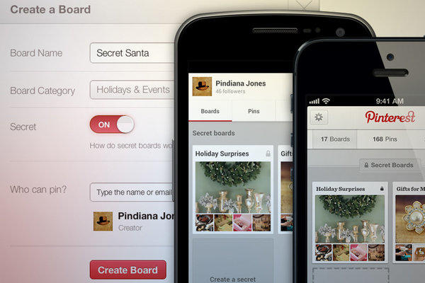 A new feature on Pinterest allows viewers to share boards that won't show up elsewhere.