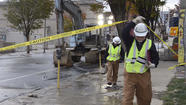 RAW VIDEO Charles street water break still flowing