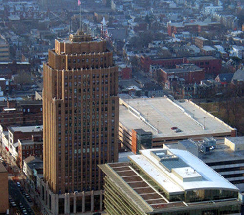 An aerial view of the PPL Tower in downtown Allentown.