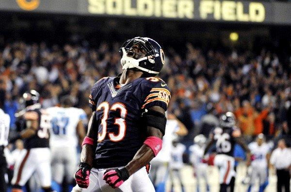Bears cornerback Charles Tillman celebrates after recovering a fumble against the Lions last month in Chicago.