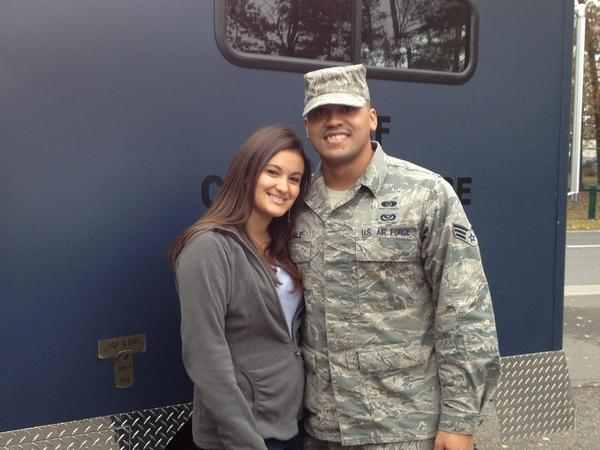 Former Newington high running back, now senior airman Steven Chamble and his wife, Jessica, pose for a photo at Ramstein Air Base on Thursday.