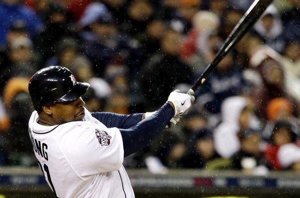 Tigers designated hitter Delmon Young hits a home run against the Giants in Game 4 of the World Series last month.