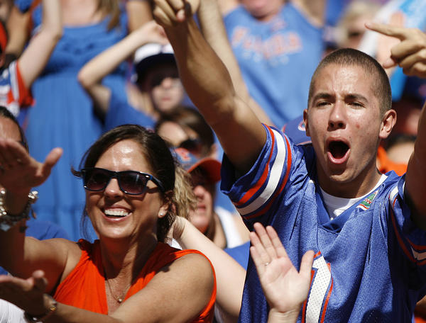 Florida fans cheer during the University of Missouri Tigers at the University of Florida Gators football game at Ben Hill Griffin Stadium in Gainesville on Saturday, November 3, 2012.