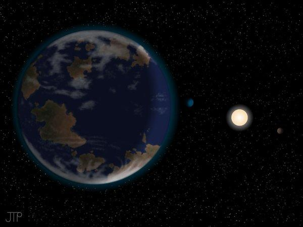 An artist's representation of a super-Earth planet HD 40307-g in the habitable zone around HD 40307, 42 light years away.