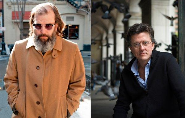 Steve Earle, left, will provide musical entertainment at a literary benefit for Red Hook, to be hosted by Kurt Andersen, right.