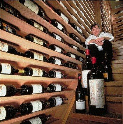 Charlie Trotter and some of his cellar.