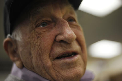Bob Frothingham, 92, an infantryman awarded the Purple Heart in World War II, shared stories of his service at Liberty High School during a Veterans Day celebration on Nov. 8.
