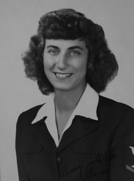 Portrait of Gloria Mitchell as a WAVE during World War II. She joined the Navy in January 1944, had boot camp at Hunter College in Bronx, N.Y., attended parachute riggers school at Lakehurst, N.J., and was stationed at Naval Air Station Miami in Opa-locka, Fla. She was discharged in September 1945. Now 90, she lives in west Bethlehem.