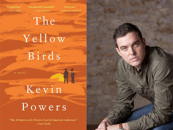 Author Kevin Powers and the cover of his novel, 'The Yellow Birds.'