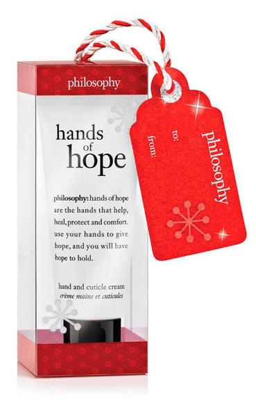 "Philosophy is a personal care line presented in lowercase letters that puts inspirational messaging right on every item. The company states it ""believes in miracles and the beauty in everyone."" The philosophy 2012 holiday collection features classic celebrations, nostalgic imagery, retro patterns and a vintage feel. Pamper winter skin with hands of home ($10), a hand and cuticle cream anyone on your list would appreciate. The gingerbread man — a ginger hot salt body scrub — is prettily gift boxed in a retro red plaid box with black check bow ($25). Peace on earth orchid shampoo, shower gel and bubble bath and body lotion, comes in a lavender snowflake gift bag with gift card ready to hand to your someone special ($34). Available at Macy's, Ulta, Nordstrom, Sephora and philosophy stores."