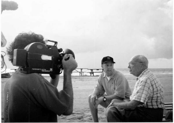"Filmmaker Brian Bain sits on Miami Beach interviewing his 99 year old grandfather about his travels throughout the South as a Jewish traveling hat salesman from the documentary ""Shalom Y'all."""