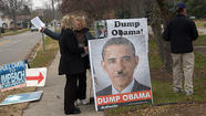 "<span style=""font-size: small;"">Protesters from a fringe political group spent Thursday afternoon outside the Niles Post Office with signs that read ""Impeach Obama"" and showed a depiction of President Obama as Adolf Hitler.</span>"