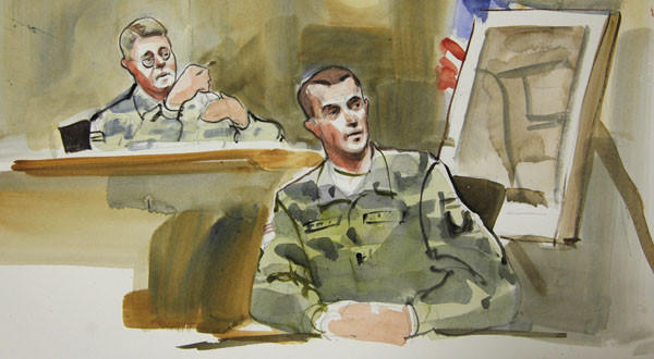 In this courtroom sketch, Capt. Daniel Fields, right, a prosecution witness in the military preliminary hearing of U.S. Army Staff Sgt. Robert Bales, testifies in a military courtroom.