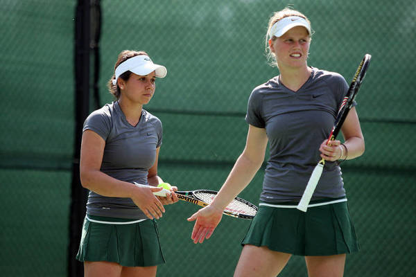 William and Mary's Maria Belaya, left, and Jeltje Loomans, shown playing outdoors, are seeded third at the USTA/ITA national indoor intercollegiate championships in New York.
