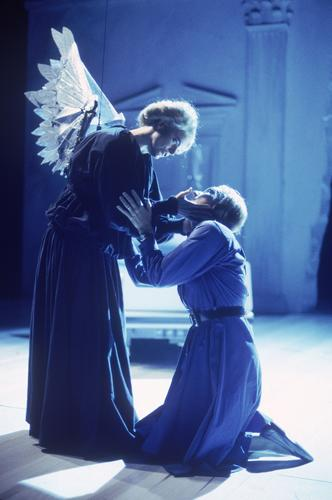 "Ellen McLaughlin is an angel visiting Earth in search of human assistance. Here she encounters Hannah Pitt, a Mormon mother worried about her son, played by Kathleen Chalfant. The full, two-part ""Angels in America"" opened at the Mark Taper Forum on Nov. 8, 1992."