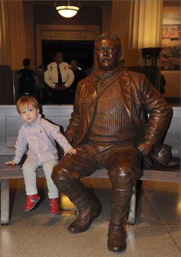 The new statue of Theodore Roosevelt dressed for exploring Yellowstone National Park, already the favorite photo op to visitors at the American Museum of Natural History