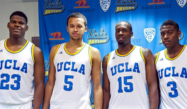 UCLA players Tony Parker, from left, Kyle Anderson, Shabazz Muhammad, Jordan Adams pose for a photo after an NCAA college basketball news conference at the UCLA campus on Oct. 10, 2012.