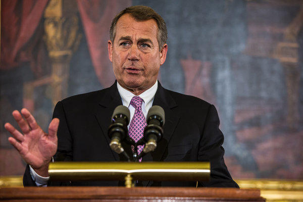 House Speaker John Boehner discussed the looming fiscal cliff and called on President Obama to work with House Republicans during his remarks on Capitol Hill in Washington, D.C.