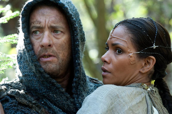 "Tom Hanks stars as Zachry and Halle Berry as Meronym in the movie ""Cloud Atlas."""