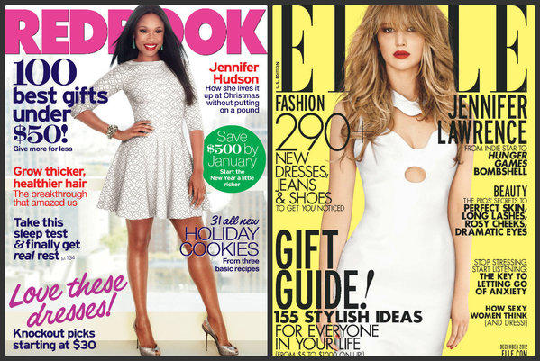 Jennifer Hudson appears on Redbook's cover and Jennifer Lawrence is on the front of Elle.