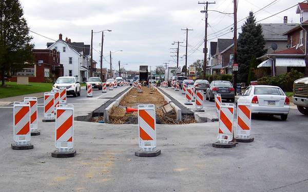 The center island being installed on Hanover Avenue between Irving and Jasper streets is intended to improve pedestrian safety. This view is looking west from Jasper Street.