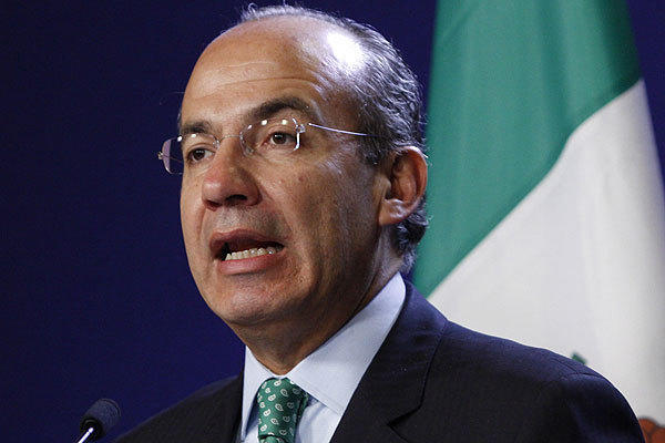 Mexico's President Felipe Calderon speaks during a news conference.
