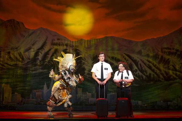 "Phyre Hawkins, left, Gavin Creel and Jared Gertner in a scene from ""The Book of Mormon."" Creel and Gertner, now starring at the Pantages, will take their roles to London in February."
