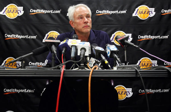 General Manager Mitch Kupchak announces the trade of Derek Fisher last winter. He continued to revamp the team, which has struggled to a 1-4 start this season.